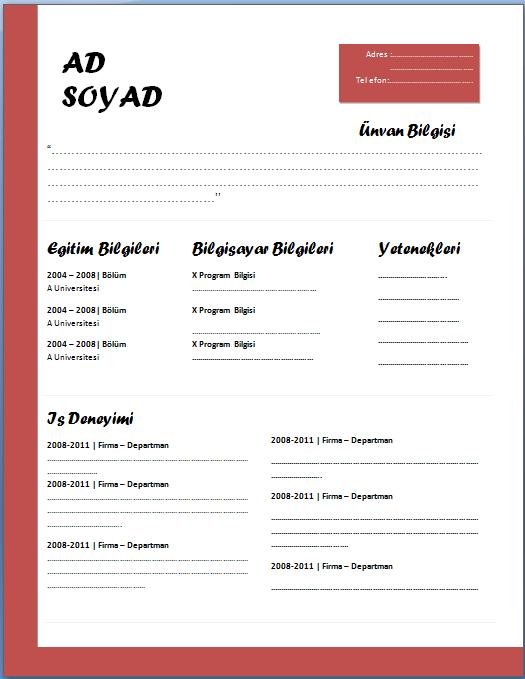 cv-örnekleri-word-1